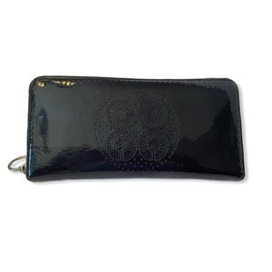 Coach Continental Wallet Navy Patent Leather